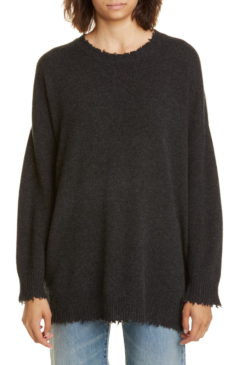 R13 Distressed Cashmere Boyfriend Sweater, Main, color, CHARCOAL
