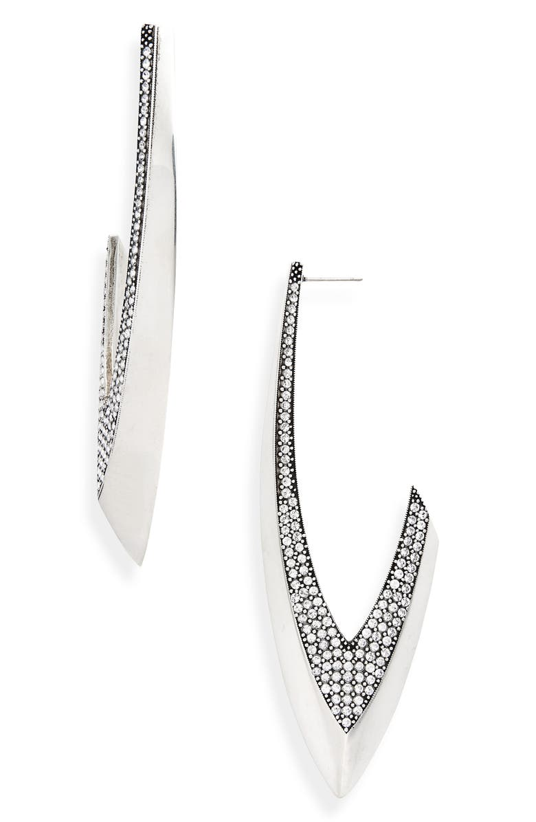 SAINT LAURENT Creoles Pointe Drop Earrings, Main, color, SILVER