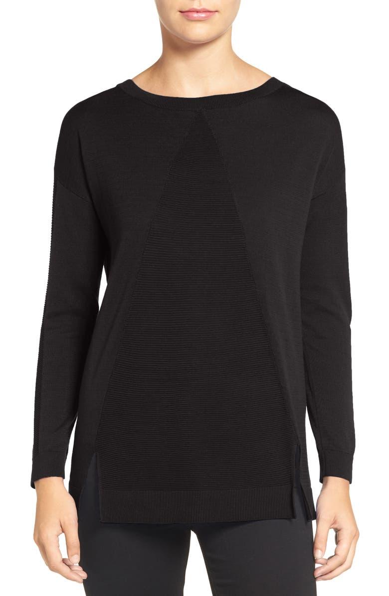 TROUVÉ Corrugated Stitch Pullover, Main, color, 001