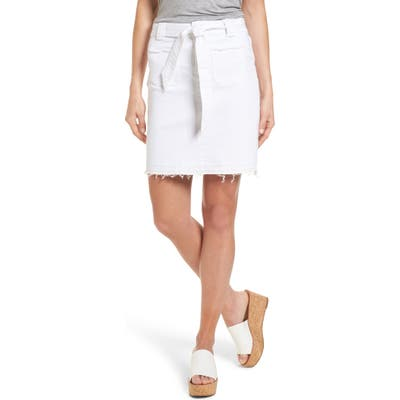 Petite Caslon Belted Release Hem Stretch Cotton Twill Skirt, White