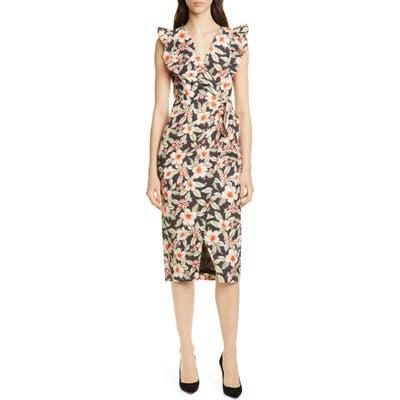 Rebecca Taylor Kamea Floral Faux Wrap Dress, Black