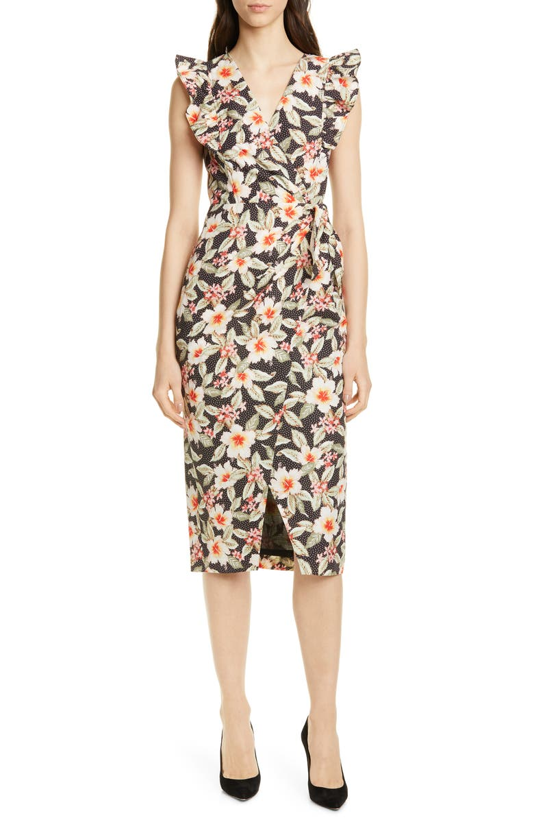 REBECCA TAYLOR Kamea Floral Faux Wrap Dress, Main, color, 014
