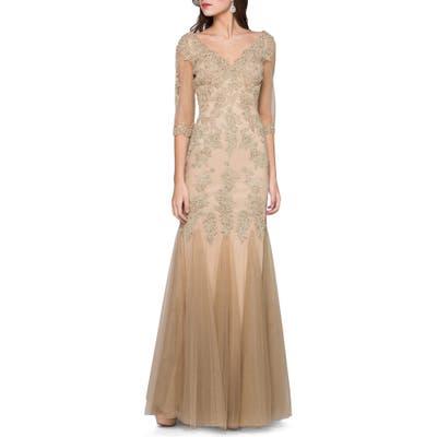 Marsoni Godet Lace & Chiffon Trumpet Gown, 8 (similar to 18W) - Beige