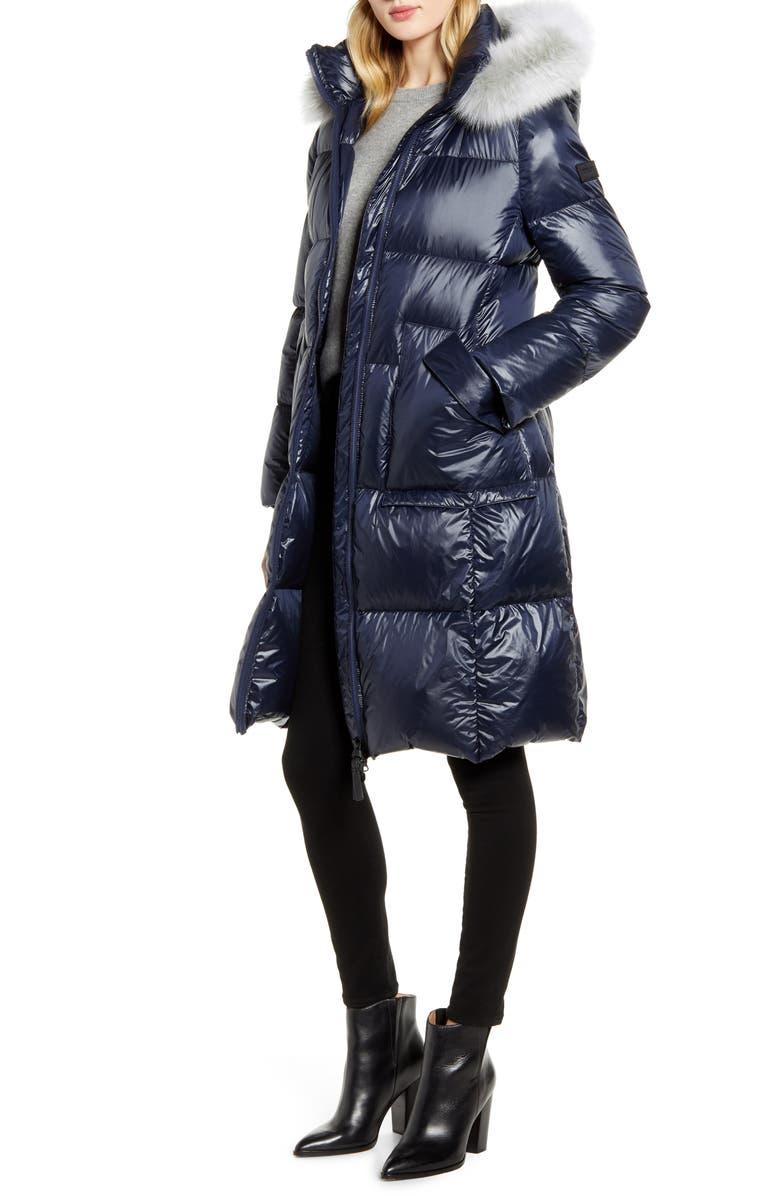 DEREK LAM 10 CROSBY Genuine Fox Fur Trim Down Coat, Main, color, NAVY