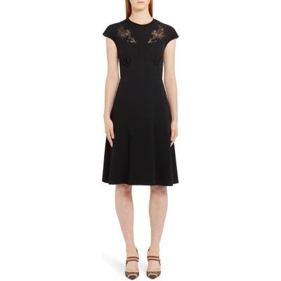 Fendi Lace Inset A-Line Dress, 50 IT - Black