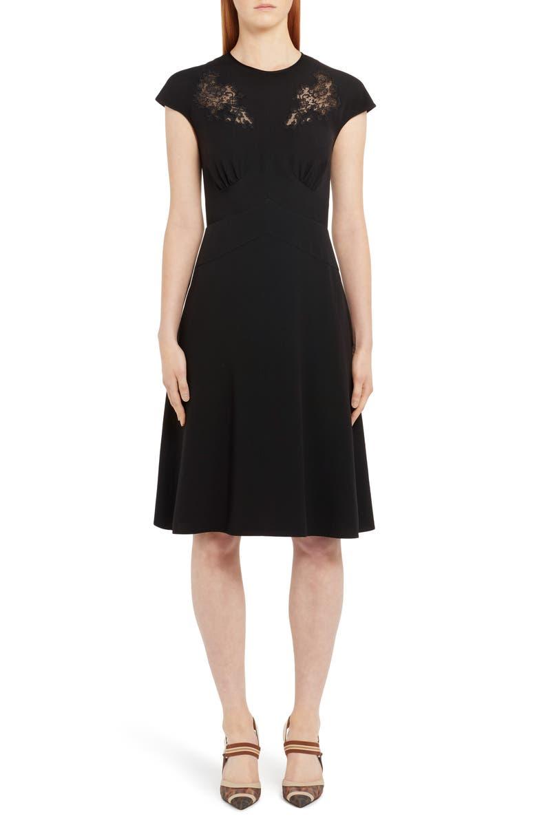 FENDI Lace Inset A-Line Dress, Main, color, BLACK