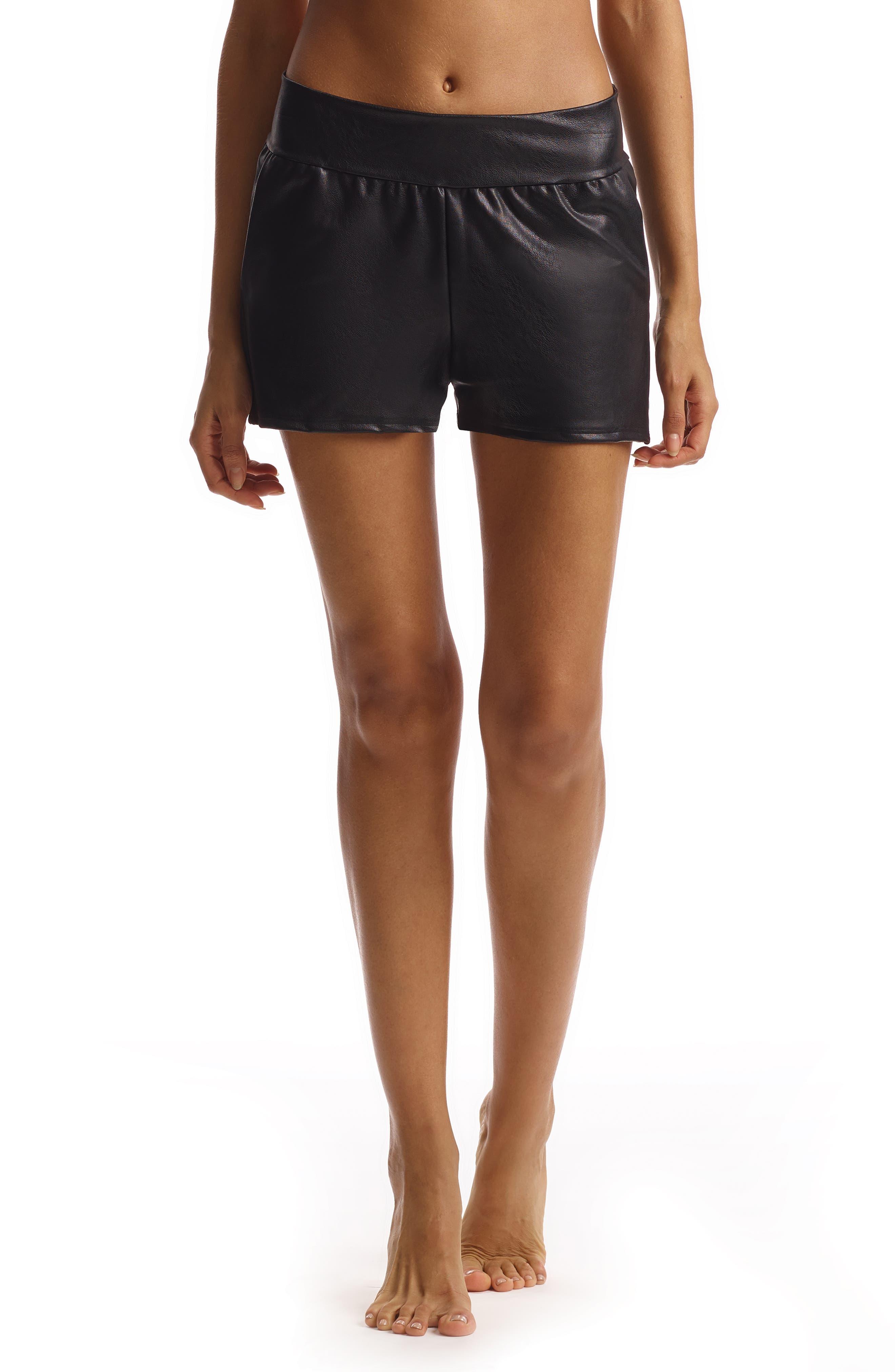 Women's Commando Faux Leather Jogger Shorts,  Medium - Black