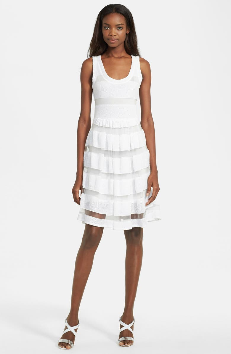 TRACY REESE Mesh Stripe Pointelle Knit Fit & Flare Dress, Main, color, 172