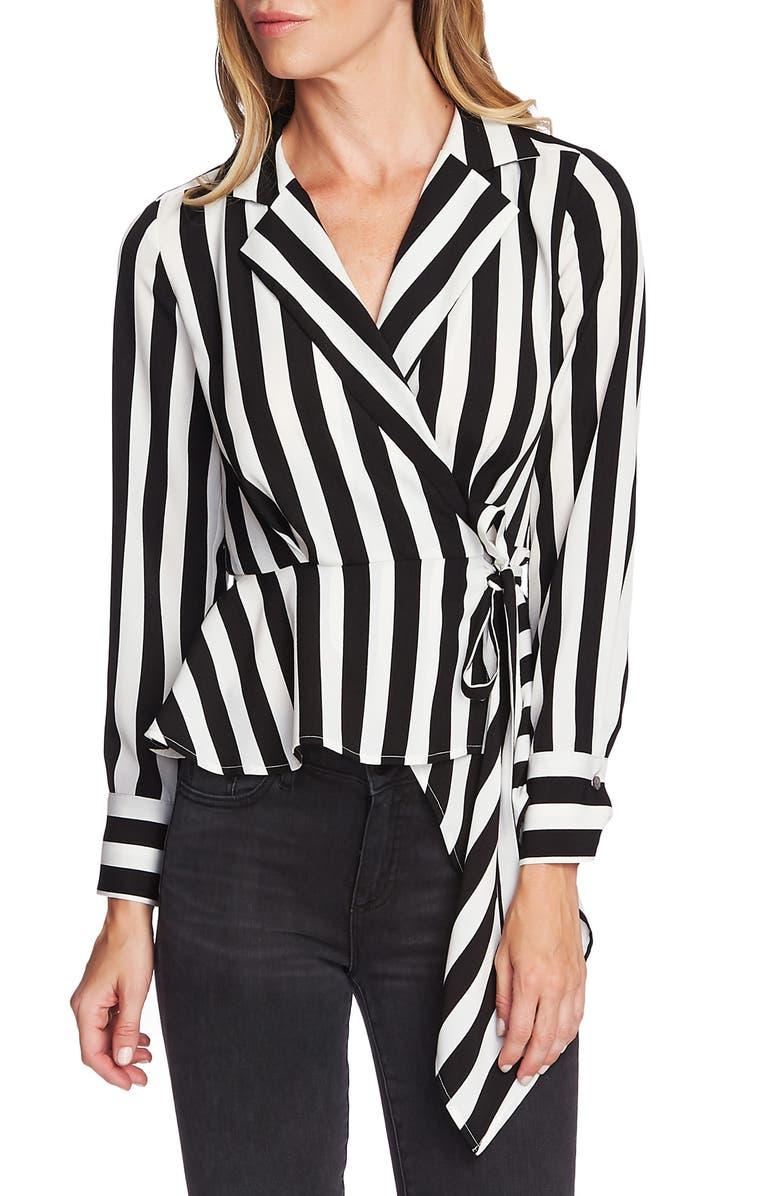 VINCE CAMUTO Bold Stripe Asymmetrical Crepe Wrap Blouse, Main, color, RICH BLACK