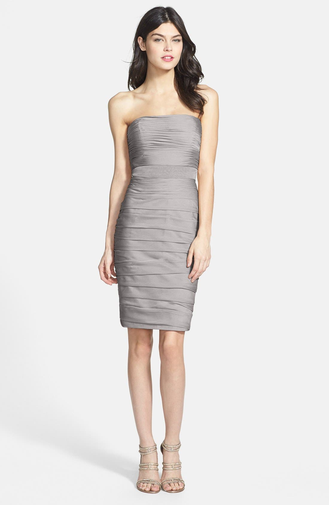 ,                             Ruched Strapless Cationic Chiffon Dress,                             Alternate thumbnail 9, color,                             020