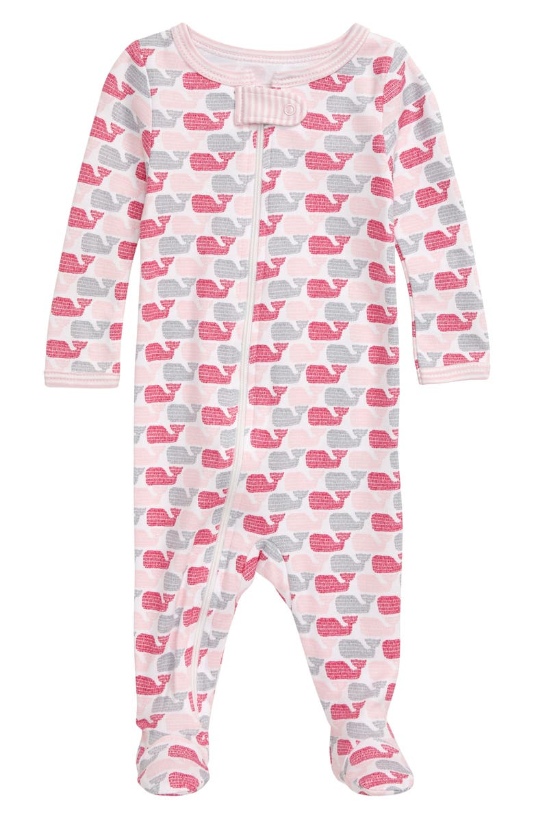 VINEYARD VINES Ticking Whale Footie, Main, color, RHODODENDRON