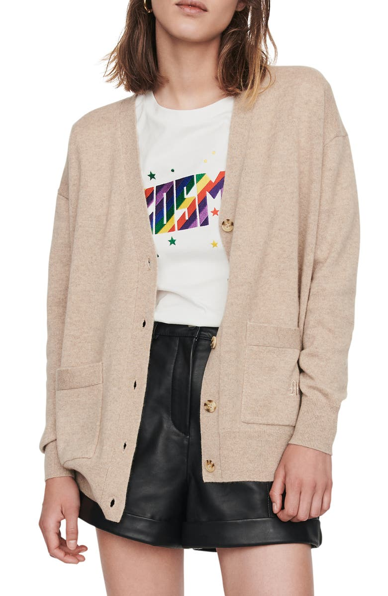 MAJE Maxence Cashmere Cardigan Sweater, Main, color, CAMEL