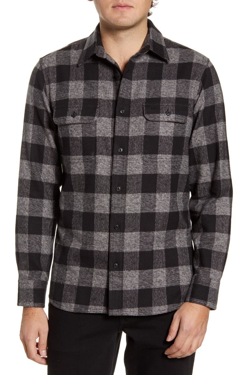 1901 Trucker Trim Fit Check Button-Up Shirt, Main, color, GREY JASPE BLACK BUFFALO