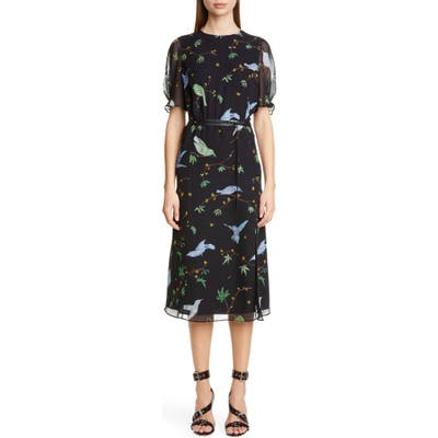 Altuzarra Floral Print Belted Chiffon Midi Dress, US / 40 FR - Black