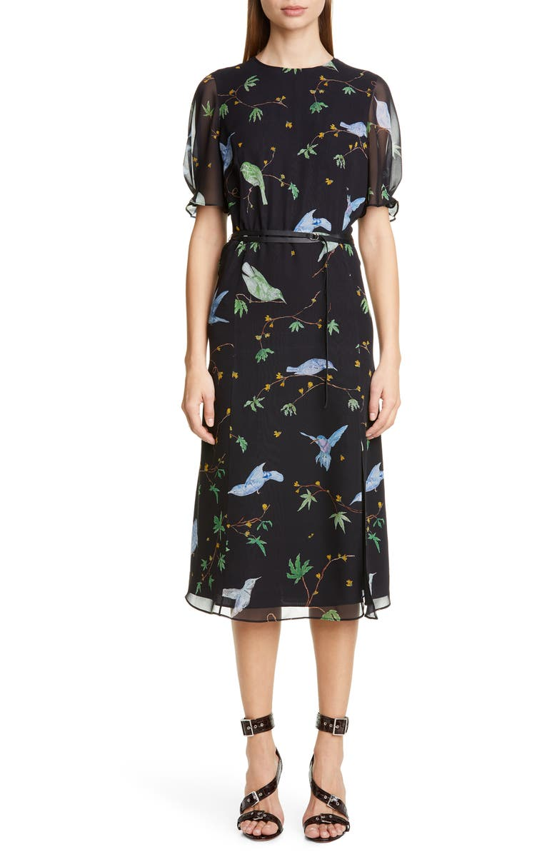 ALTUZARRA Floral Print Belted Chiffon Midi Dress, Main, color, 001