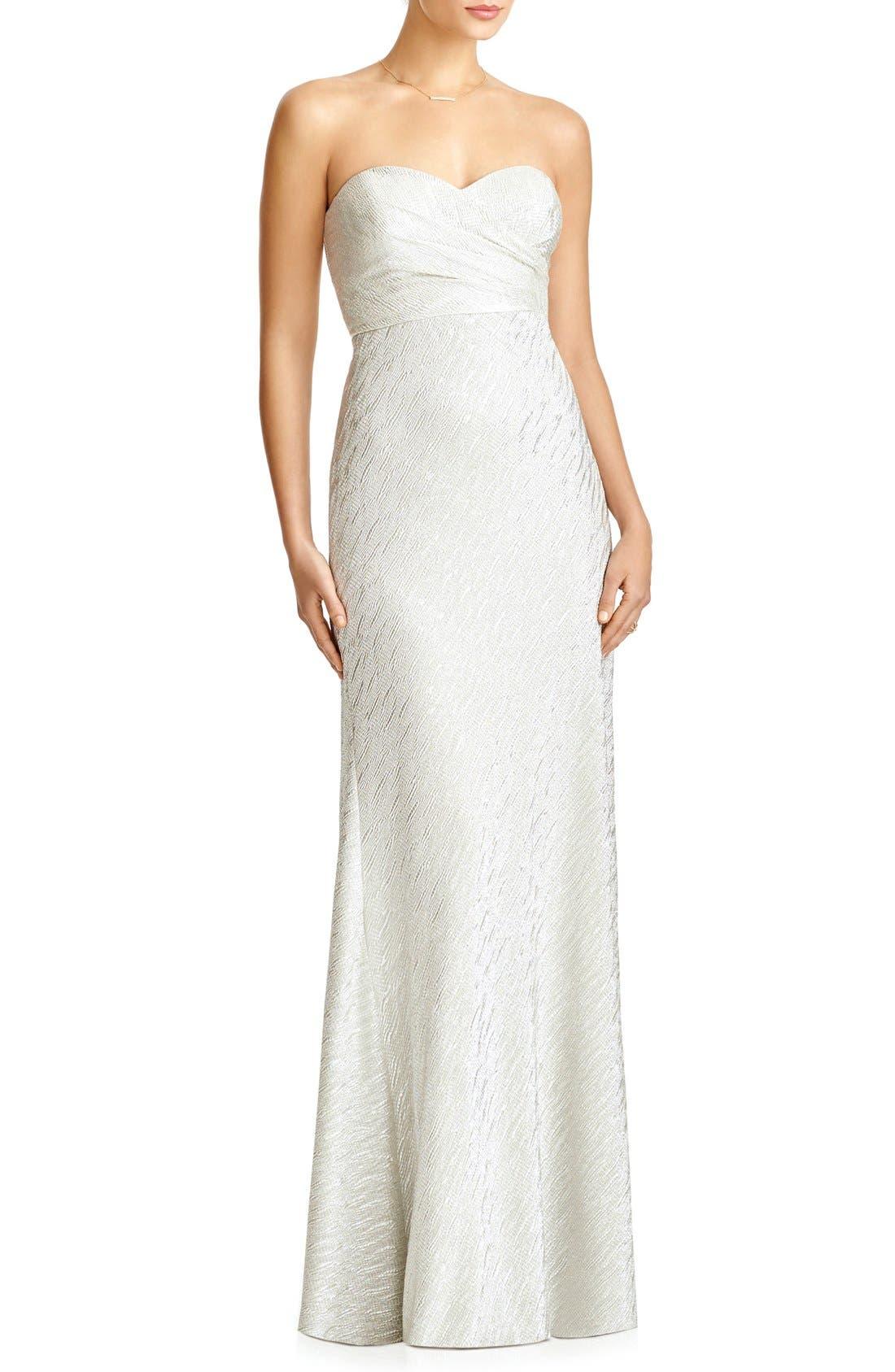 'Soho' Metallic Strapless Empire Waist Gown, Main, color, 020