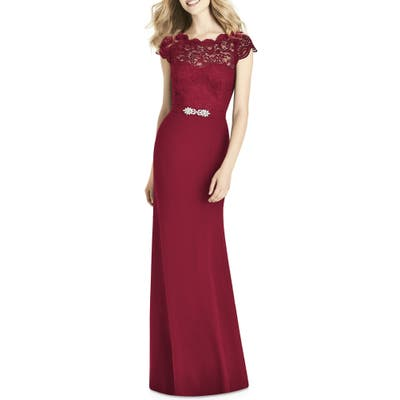 Jenny Packham Lace & Crepe Sheath Gown, Burgundy