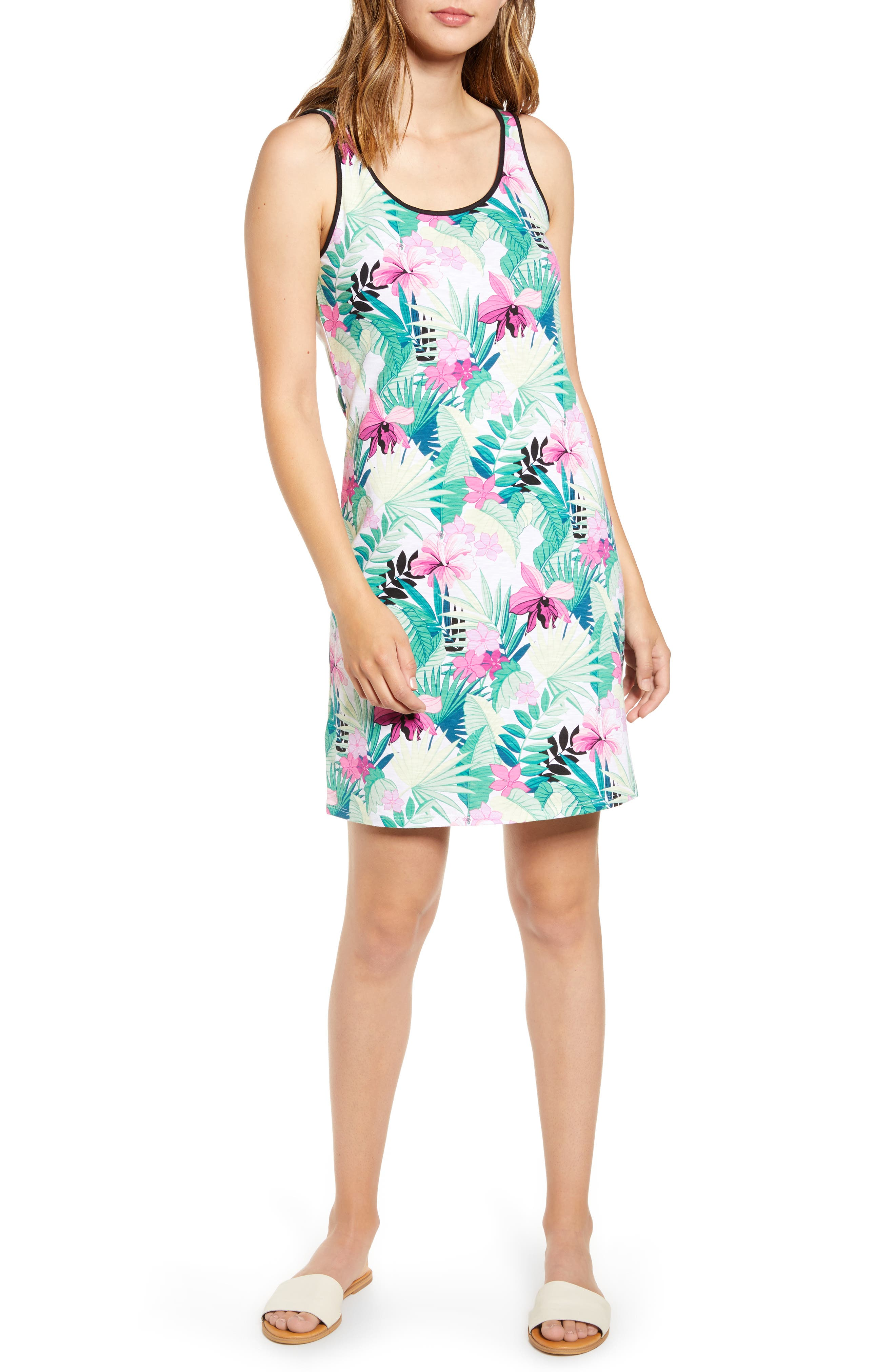 Tommy Bahama Bella Blossoms Cotton Blend Tank Dress, White