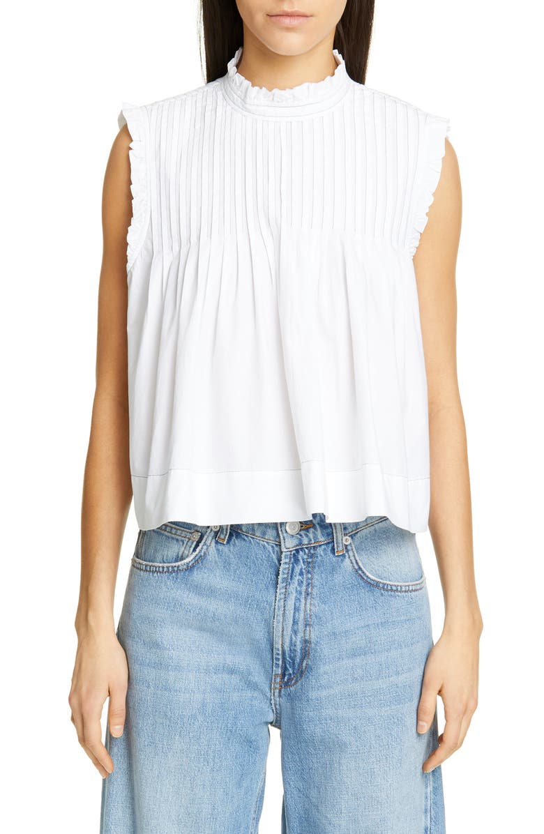 GANNI Sleeveless Poplin Crop Top, Main, color, BRIGHT WHITE