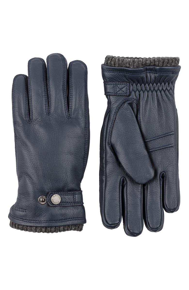 HESTRA Utsjo Leather Gloves, Main, color, MIDNIGHT