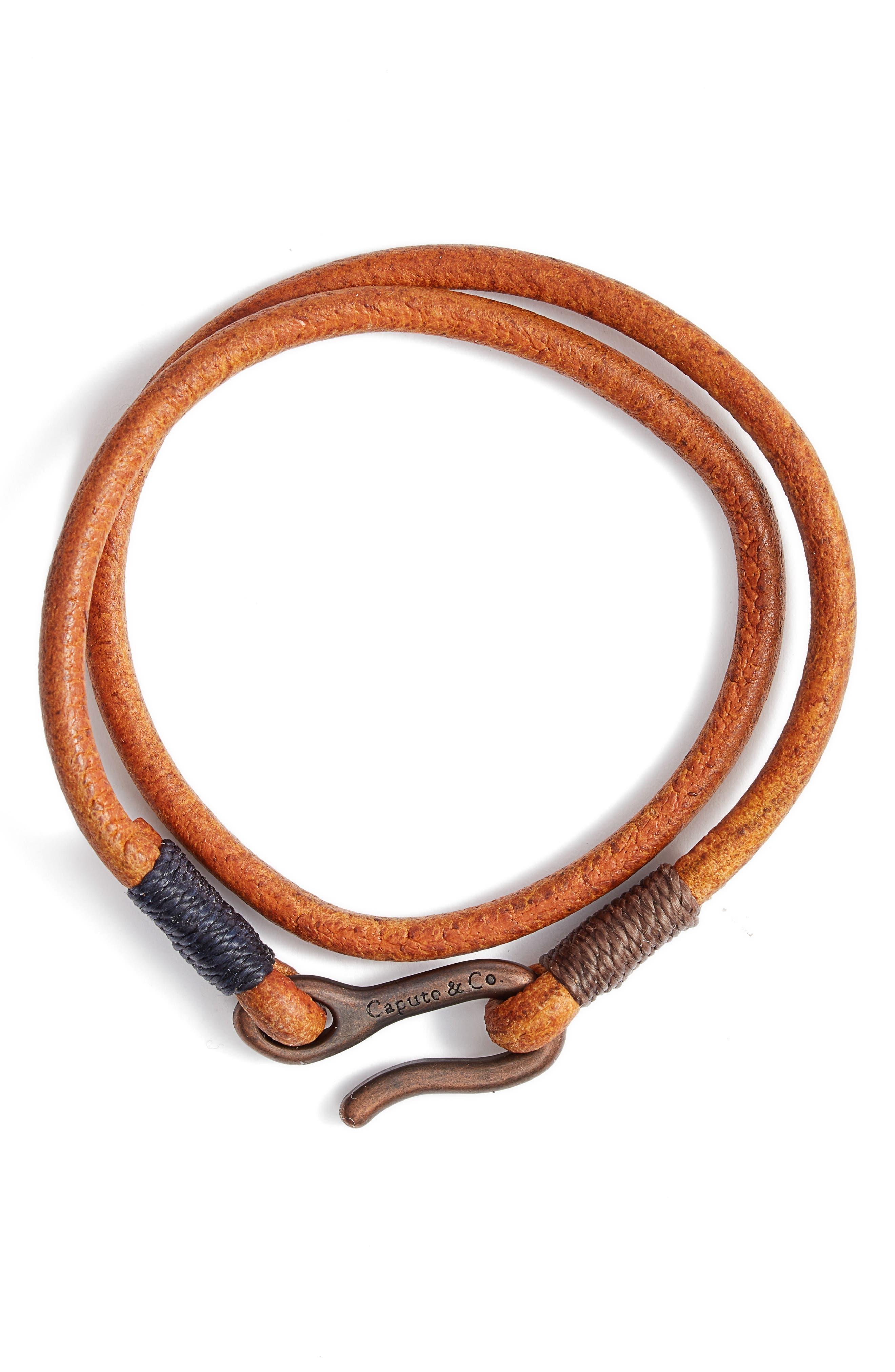 Men's Leather Cord Double Wrap Bracelet