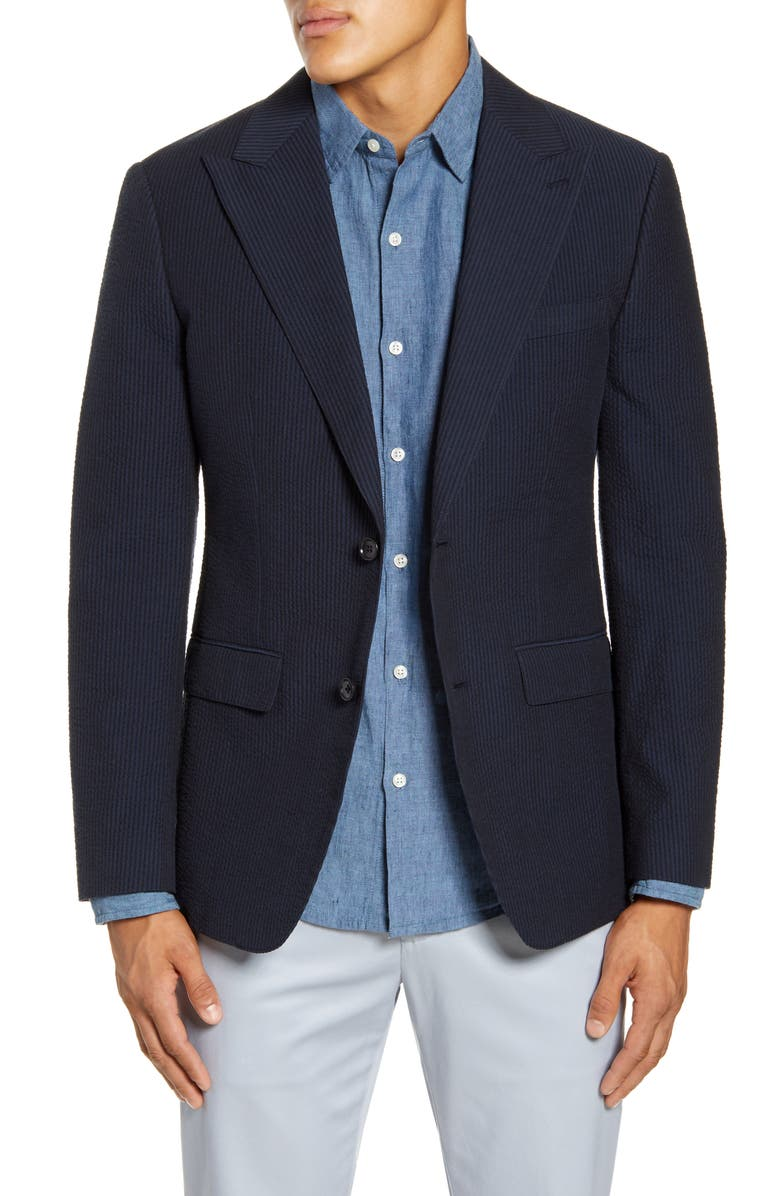 BONOBOS Slim Fit Seersucker Blazer, Main, color, NAVY SEERSUCKER