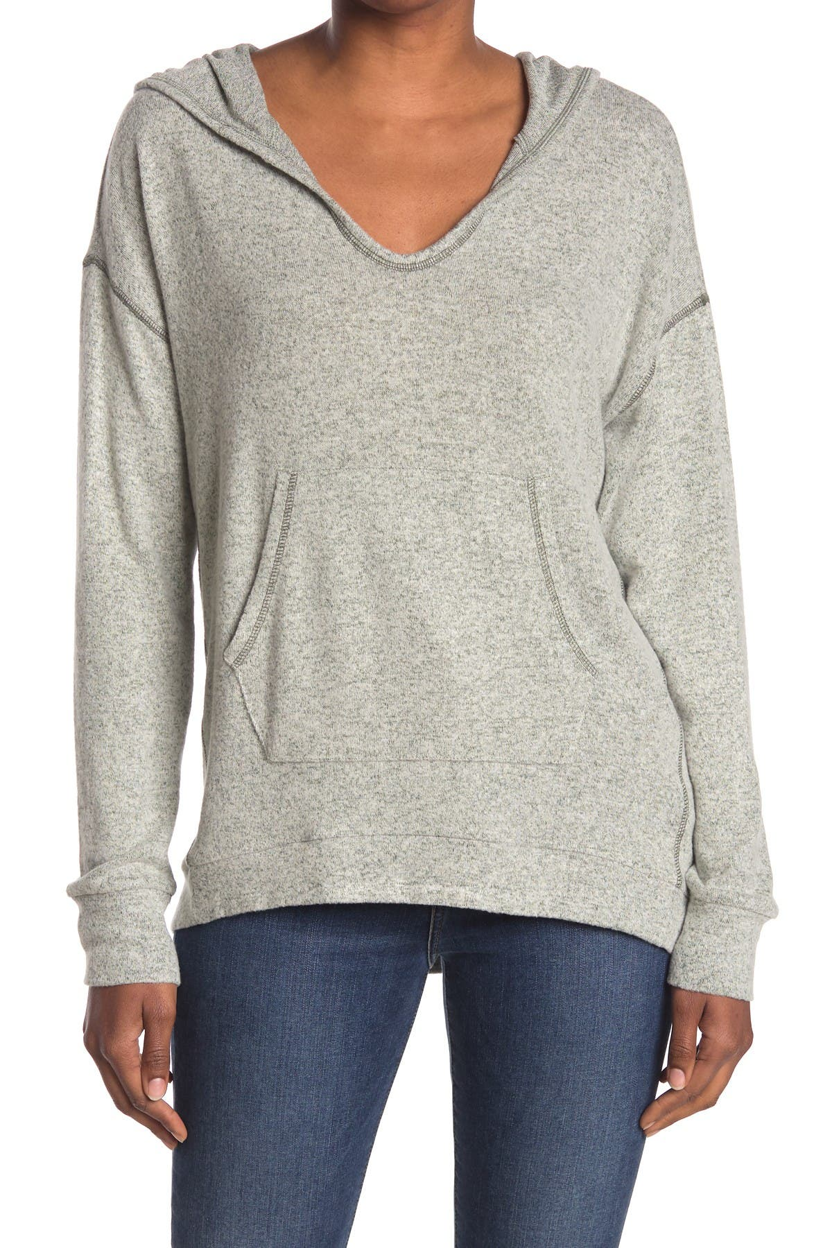Image of MELLODAY Scoop Neck Contrast Stitch Hoodie
