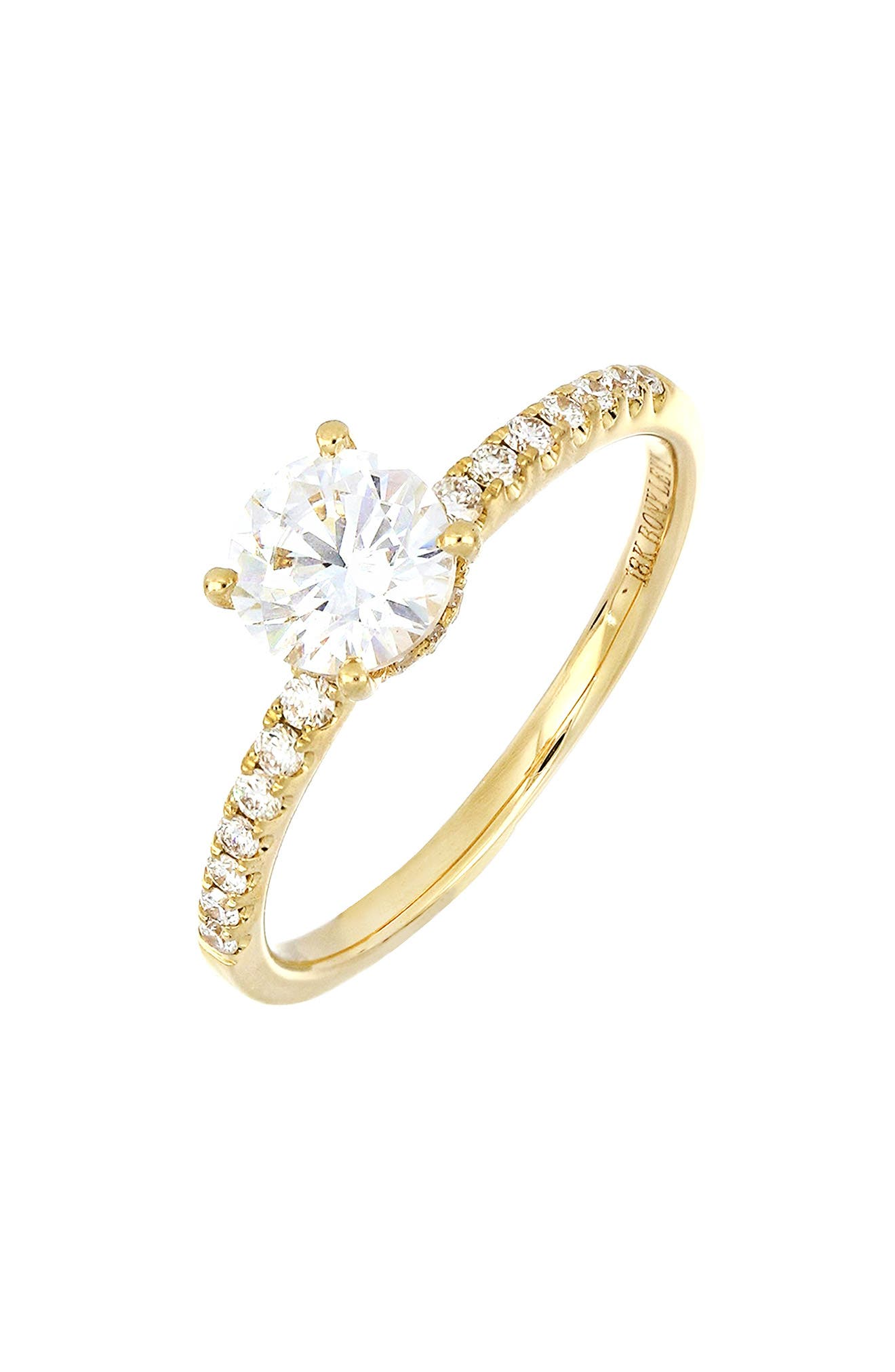 Forty-four pave-set diamonds add brilliant shine to the band and solitaire setting of a striking 18-karat-gold ring topped by a round cubic zirconia. Wear it as is, or you can buy and add the gem of your choice in place of the cubic zirconia after the proposal. Style Name: Bony Levy Pave Diamond & Cubic Zirconia Solitaire Engagement Ring Setting (Nordstrom Exclusive). Style Number: 6091371. Available in stores.
