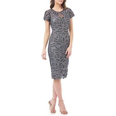 Js Collections Soutache Embroidered Cocktail Dress, Grey
