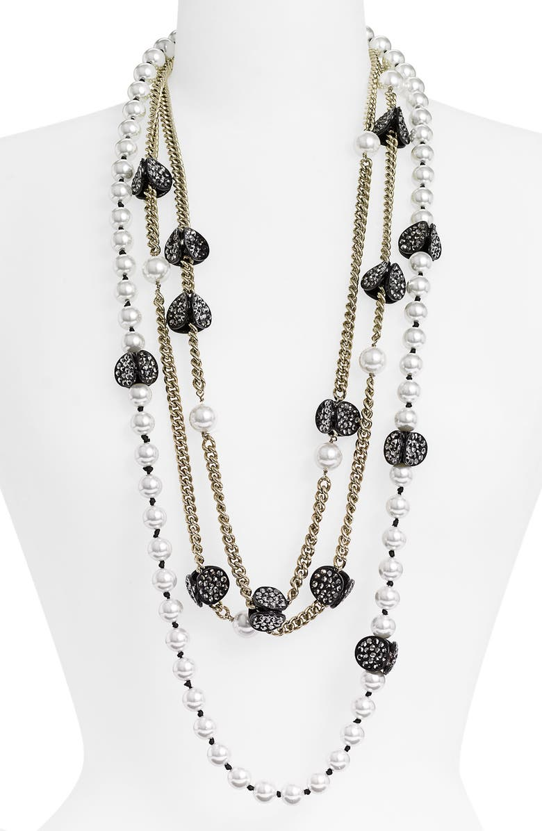 ST. JOHN COLLECTION Chain & Faux Pearl Necklace, Main, color, 040