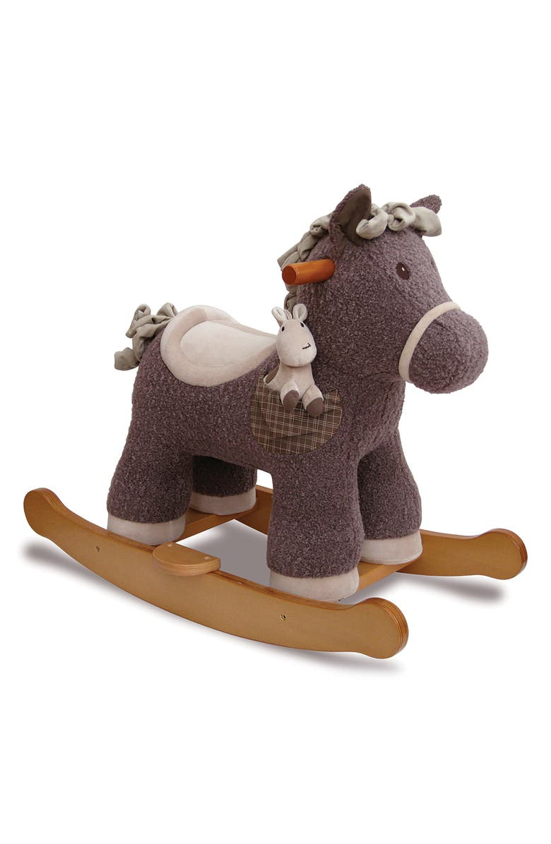 LITTLE BIRD TOLD ME Bobble & Pip Rocking Horse & Stuffed Animal, Main, color, BROWN