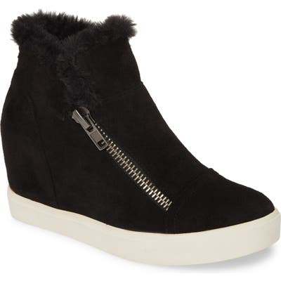 Coconuts By Matisse Later Days Faux Fur Wedge Sneaker, Black