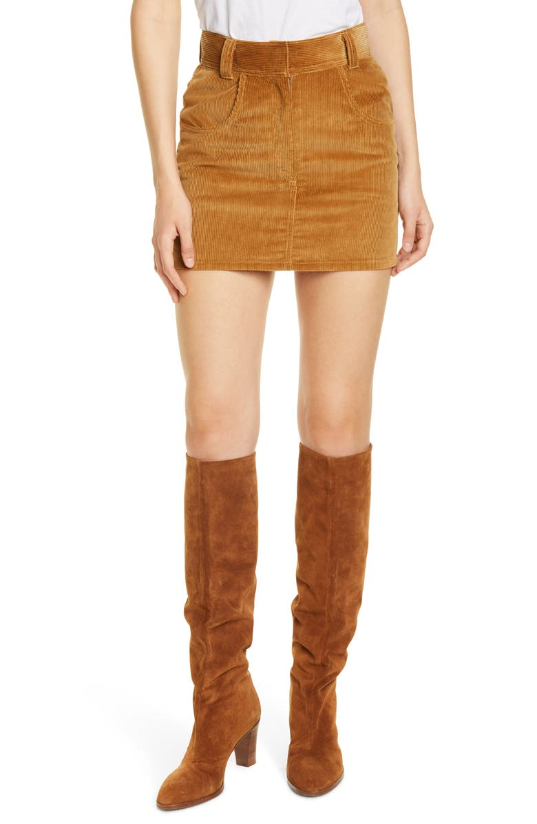 RE/DONE '90s Western Corduroy Miniskirt, Main, color, CAMEL