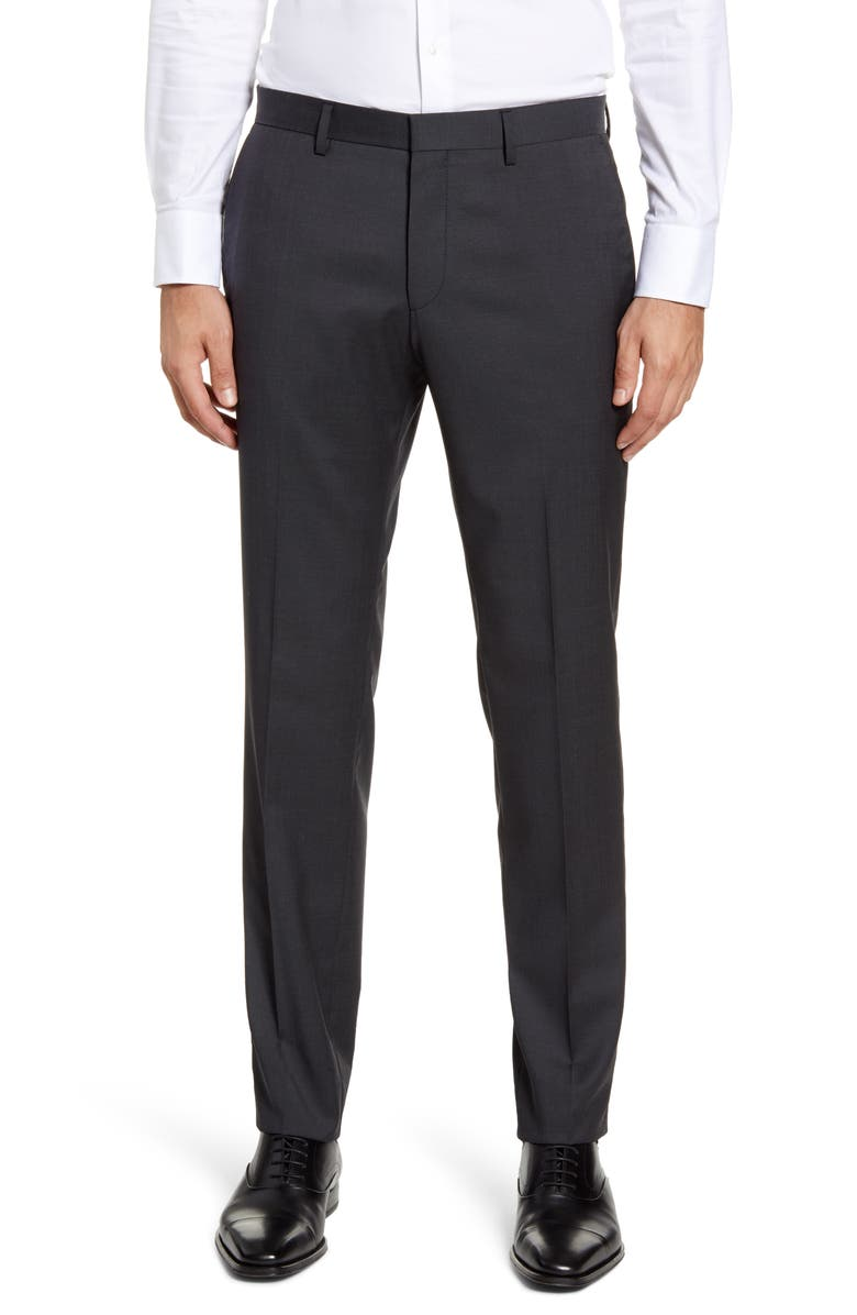BOSS Gido Flat Front Solid Wool Dress Pants, Main, color, CHARCOAL