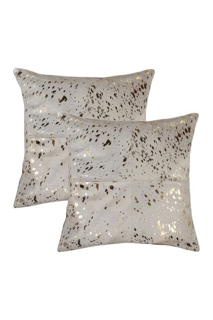 """Image of Natural 2-Pack Torino Quattro Genuine Cowhide Pillow 18"""" x 18"""" - Natural & Gold"""