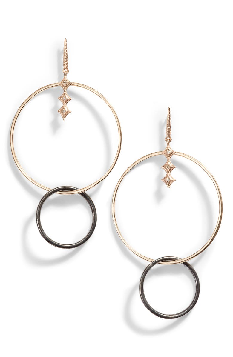 ARMENTA New World Diamond Double Circle Earrings, Main, color, GOLD/ SILVER/ DIAMOND