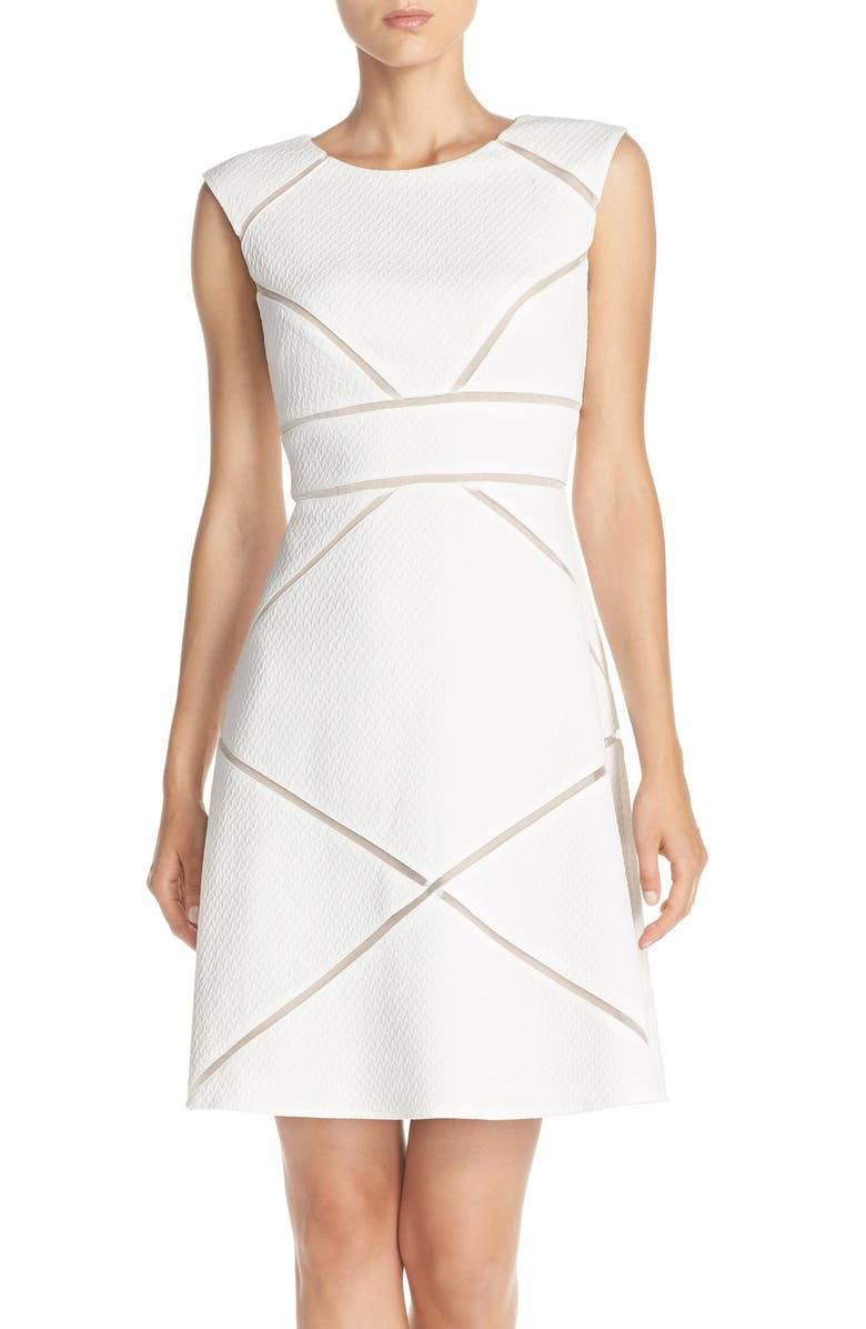 ADRIANNA PAPELL Mesh Inset Knit A-Line Dress, Main, color, 183