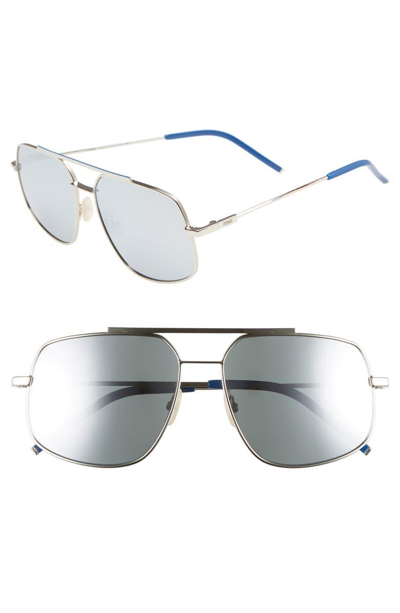 FENDI 58mm Polarized Navigator Sunglasses, Main, color, PALLADIUM