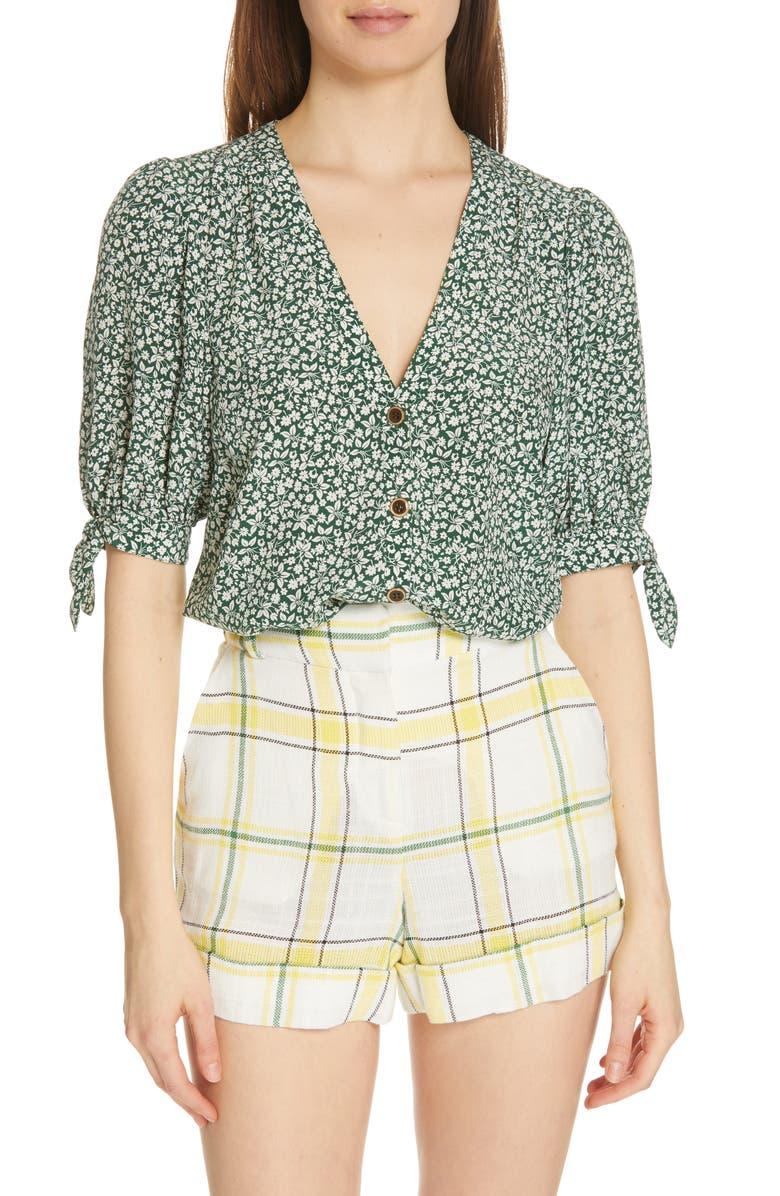 VERONICA BEARD Gizela Tie Cuff Silk Blouse, Main, color, 301
