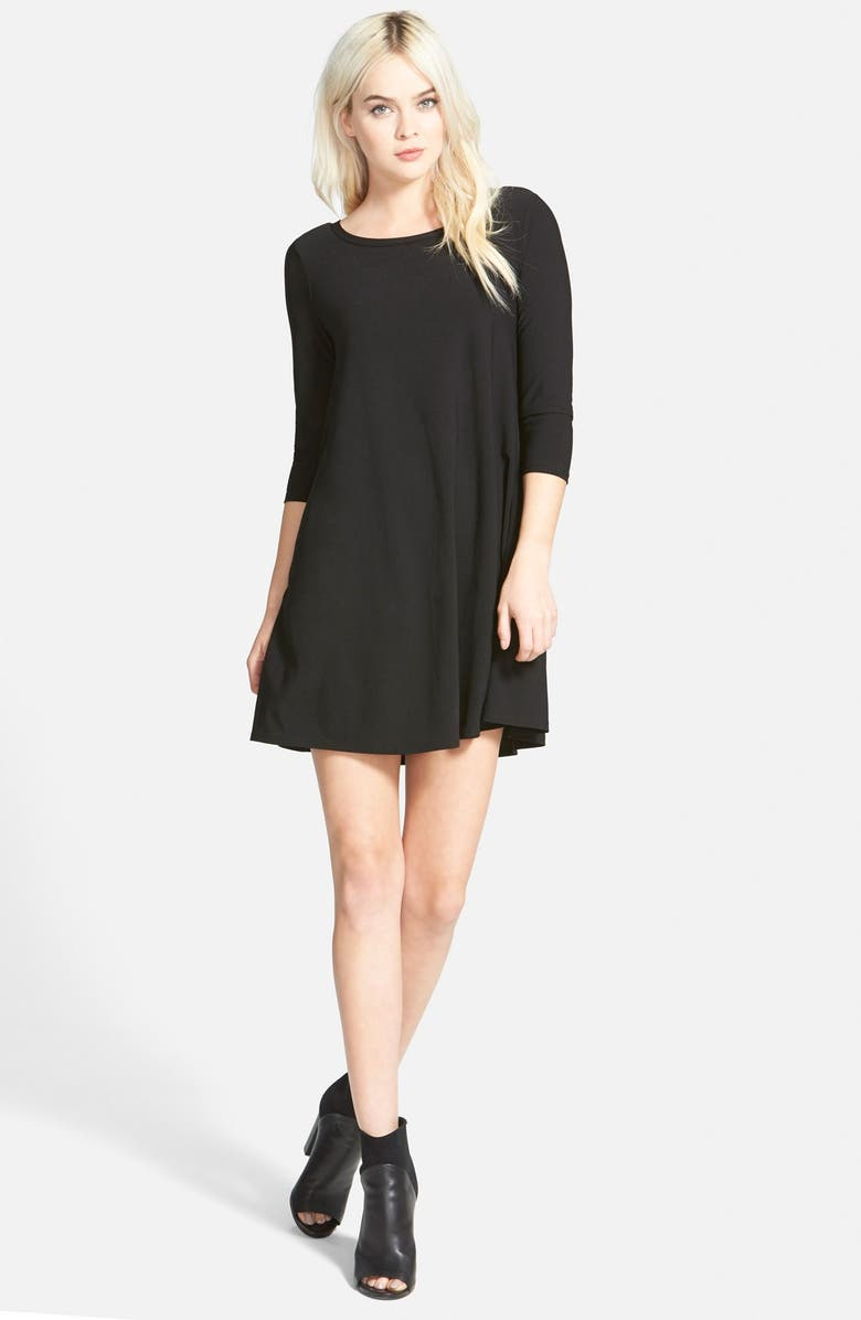 LEITH Crepe Trapeze Dress, Main, color, 001
