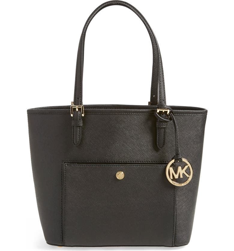 MICHAEL MICHAEL KORS 'Medium Jet Set' Saffiano Leather Snap Pocket Tote, Main, color, 001