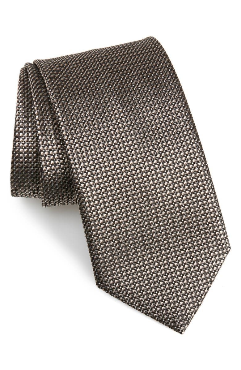 BRIONI Geometric Silk Tie, Main, color, GREY