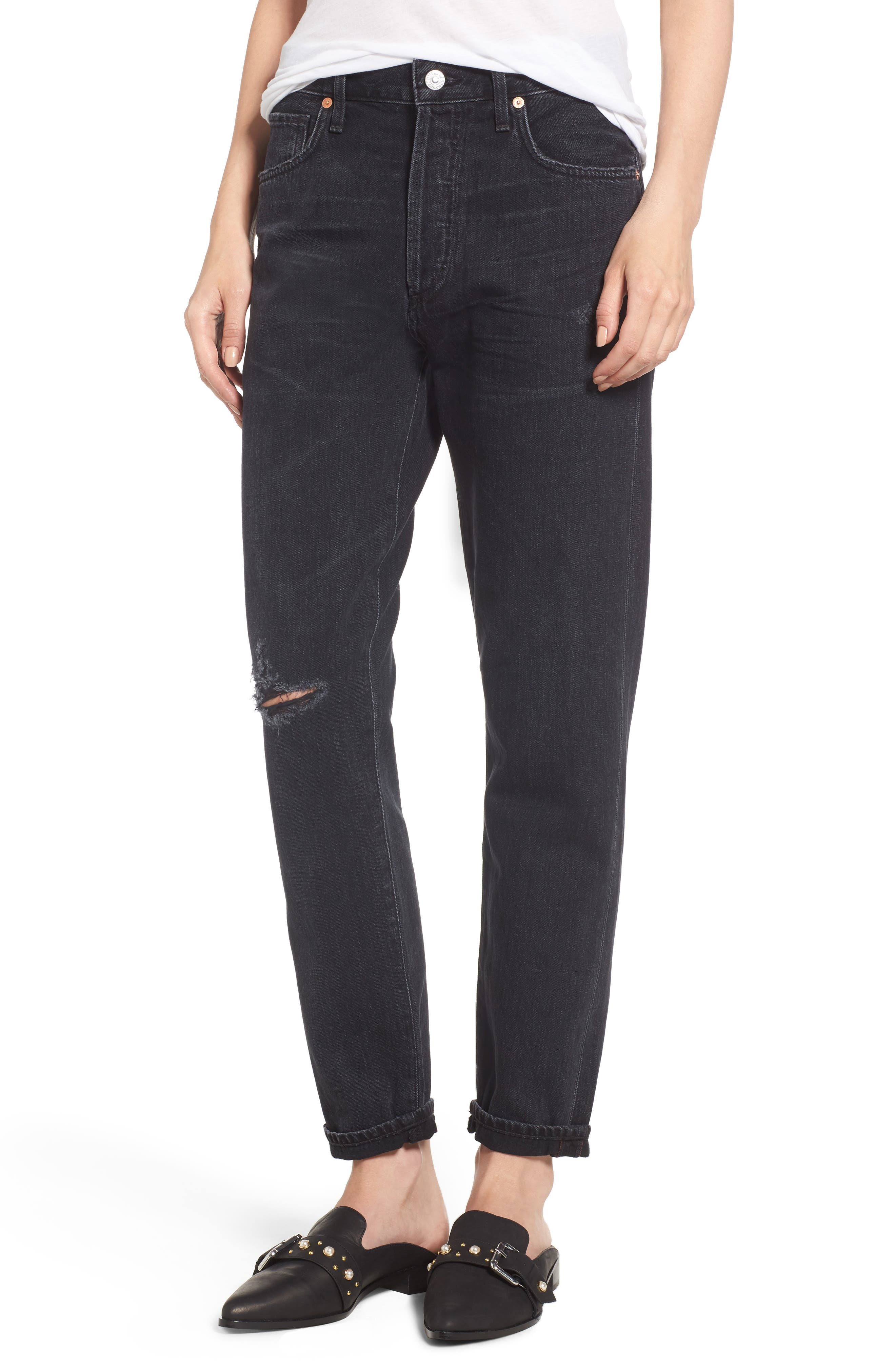 Citizens of Humanity Liya High Waist Slim Boyfriend Jeans (Distressed Outsider)