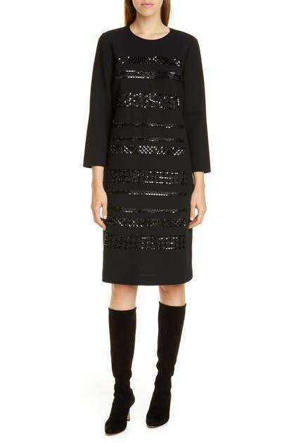 Lafayette 148 Dresses GIOVANETTA SEQUIN STRIPE WOOL SHIFT DRESS