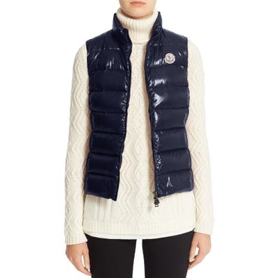 Moncler Ghany Water Resistant Shiny Nylon Down Puffer Vest
