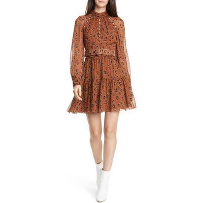 Nicholas Leopard Print Long Sleeve Belted Silk Minidress, Brown