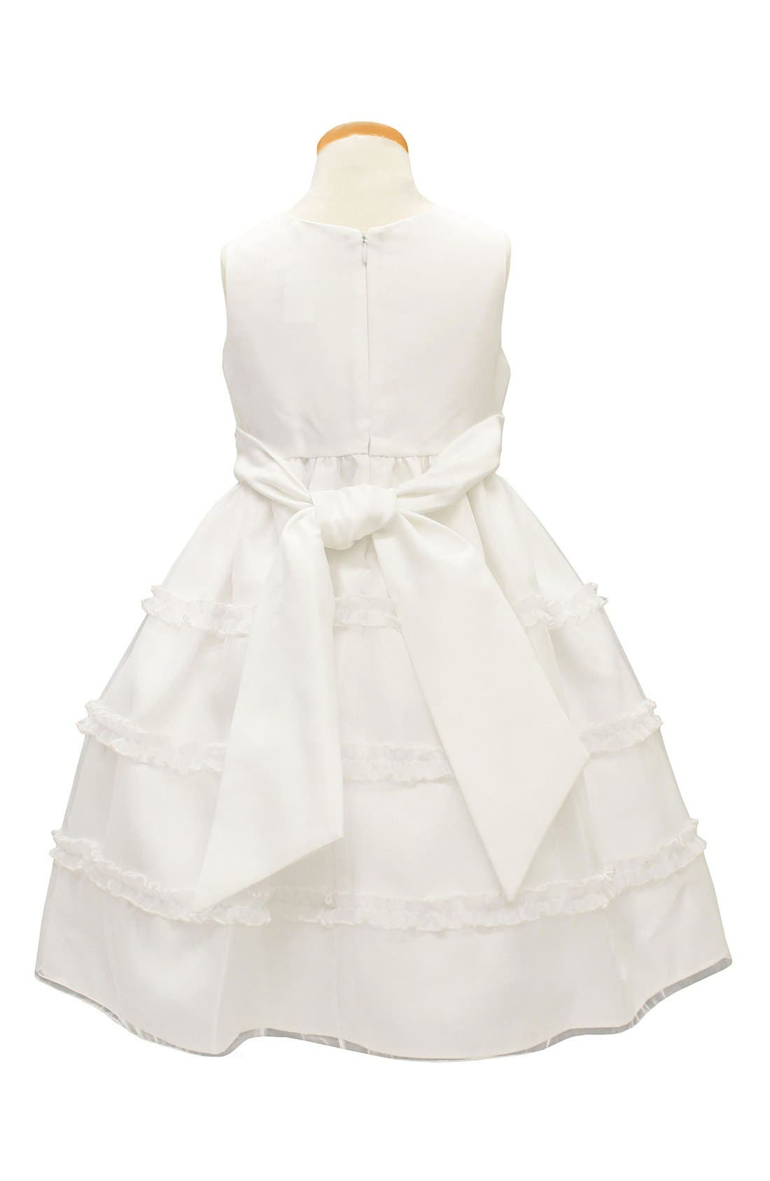 ,                             Diamond Pleated Satin & Organza Dress,                             Alternate thumbnail 3, color,                             WHITE