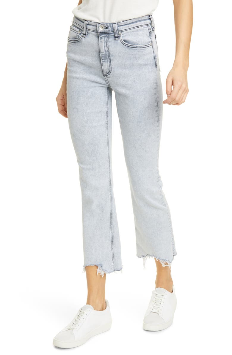 RAG & BONE Nina High Waist Ankle Flare Jeans, Main, color, MARBLE WHT