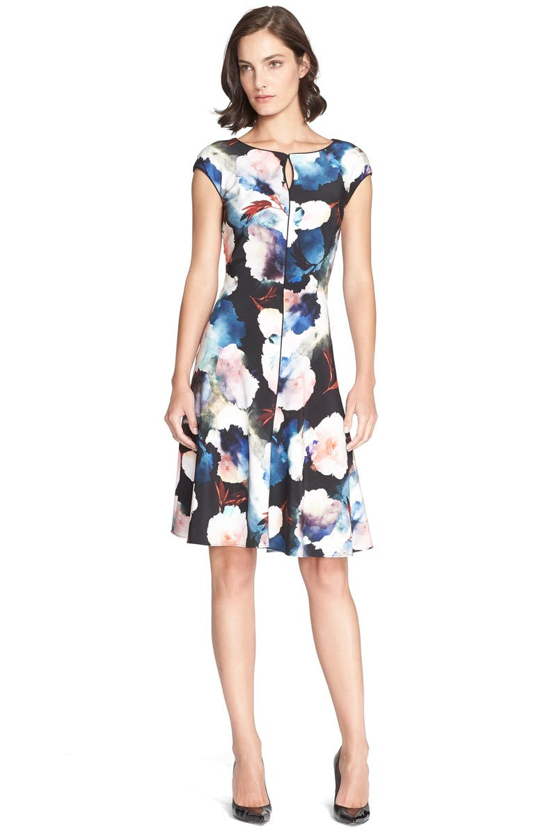 ST. JOHN COLLECTION Rose Print Flared Stretch Silk Dress, Main, color, 001