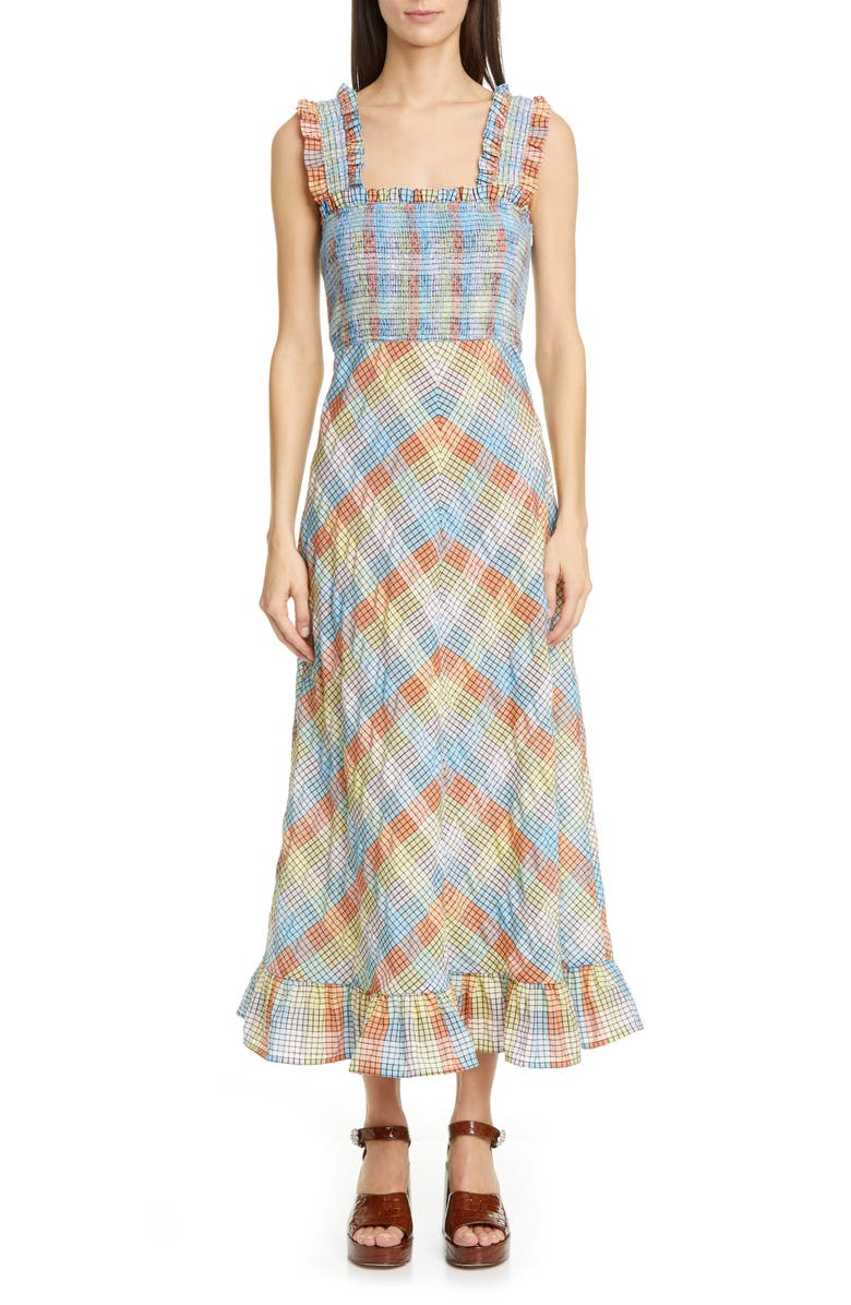 Ganni Plaid Smocked Seersucker Midi Sundress Nordstrom